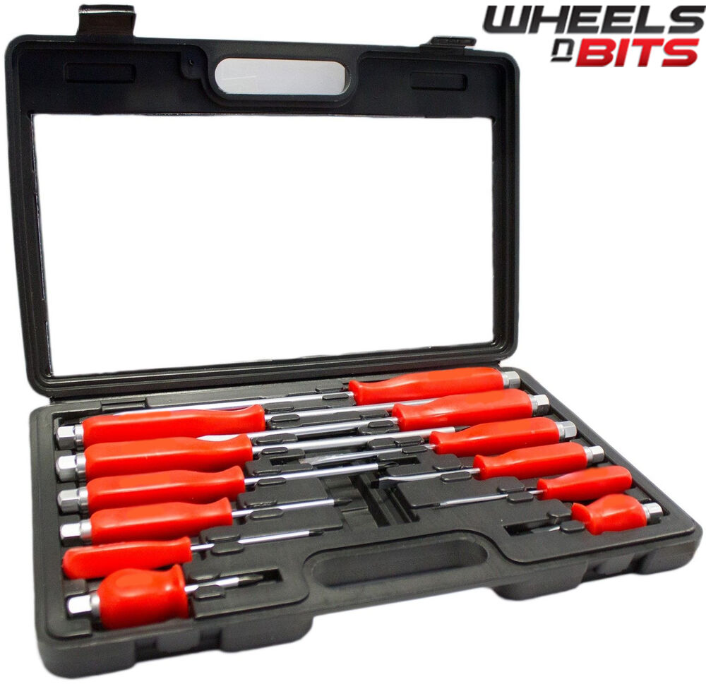 12pc heavy duty engineers mechanics screwdriver set with hex bolsters with case ebay. Black Bedroom Furniture Sets. Home Design Ideas