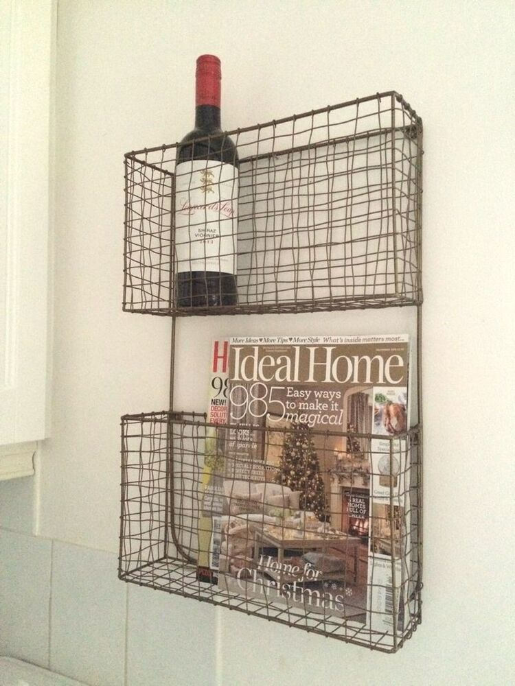 Antique Copper Wire Magazine Newspaper Wine Rack Wall