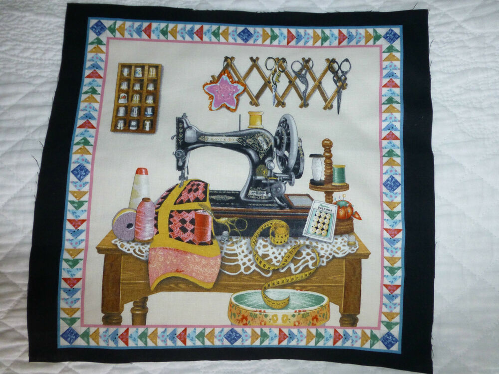 Vintage sewing machine fabric cotton craft panel quilting