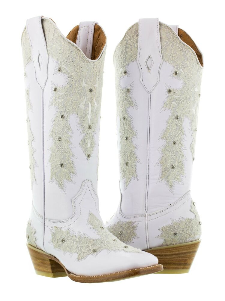 Womens White Leather Western Wear Wedding Cowboy Boots Rhinestones Rodeo Square