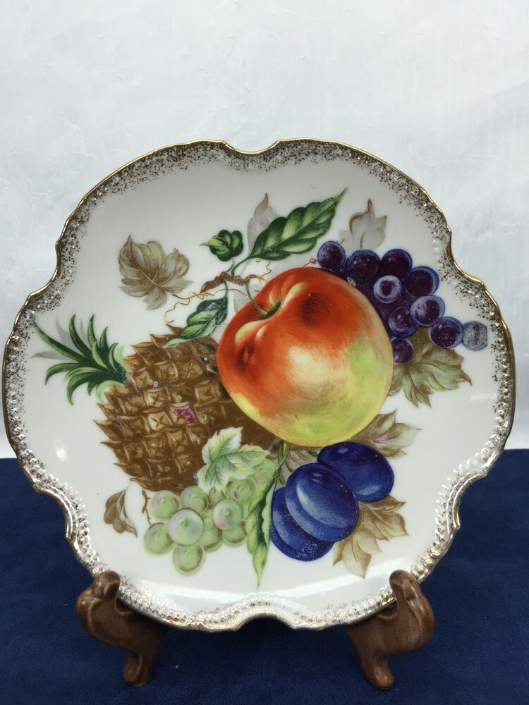 Fruit Wall Plate Dish Kitchen D Cor Apple Pineapple Grapes Plums Vintage Ebay