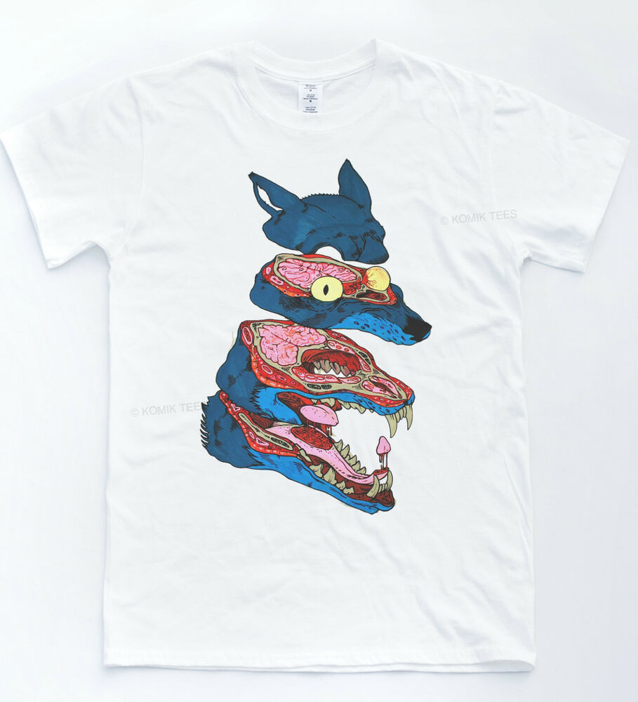 Wolf Anatomy T Shirt Illustration Cartoon Comic Tee Hipster Drawing