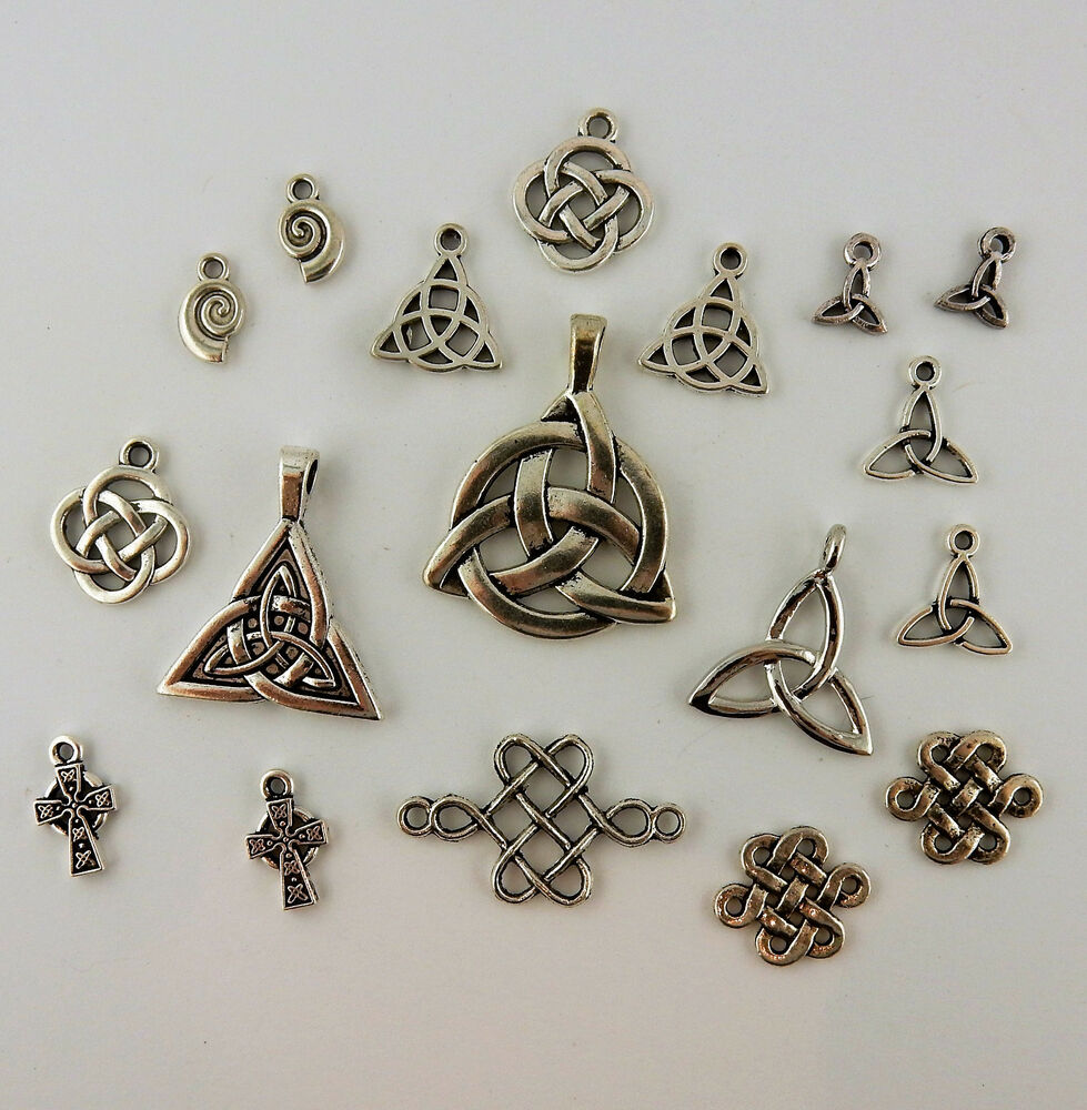 lot of 16 silver plated celtic pendants charms trinity