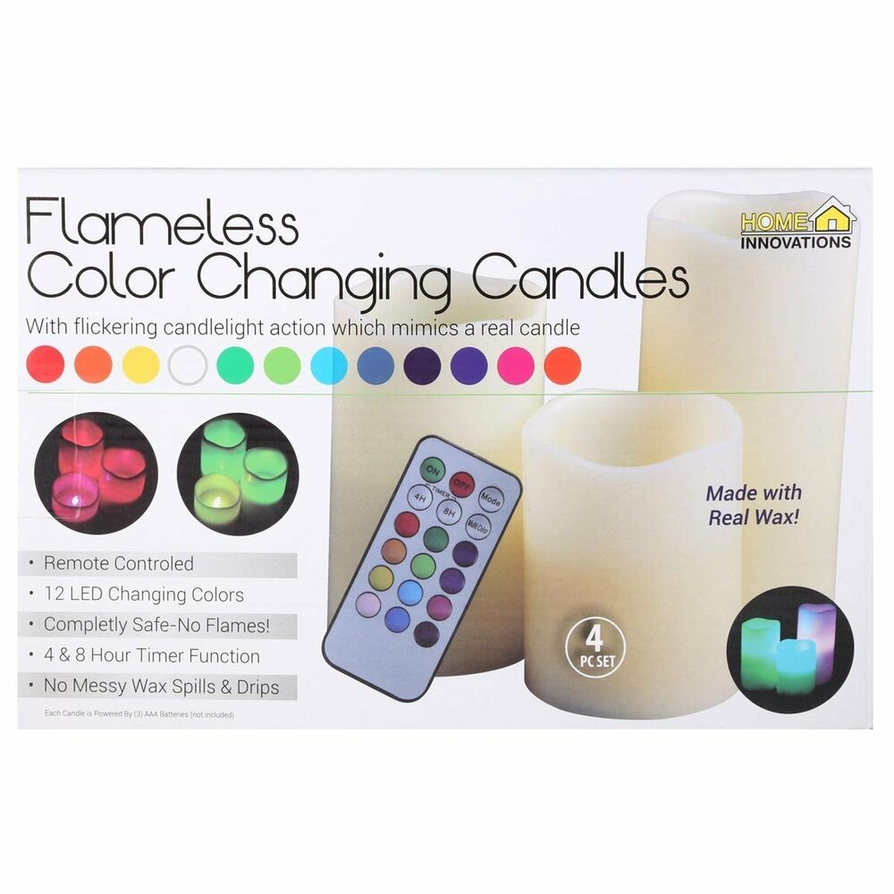 luma flameless led candles color changing real wax w remote control light 3 set ebay. Black Bedroom Furniture Sets. Home Design Ideas