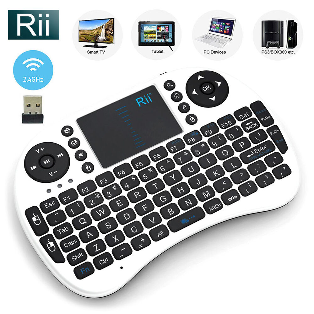 Rii Bluetooth Keyboard Android: Rii I8 White Mini Wireless Keyboard Mouse Touchpad For PC