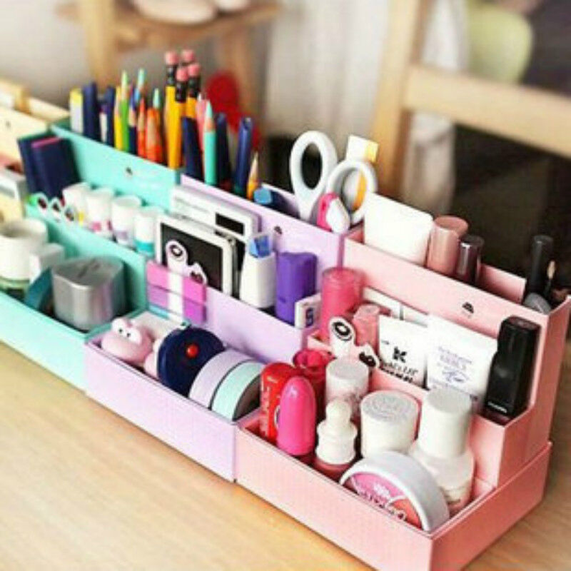Cute diy paper board storage box desk decor stationery - Desk makeup organizer ...