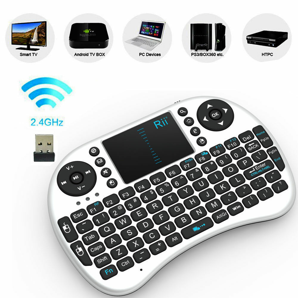 genuine rii i8 white mini wireless keyboard mouse touchpad for pc smart tv ps4 ebay. Black Bedroom Furniture Sets. Home Design Ideas