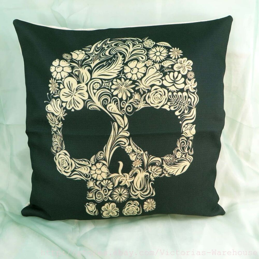 Us Seller Sugar Skull Dia De Los Muertos Cushion Cover