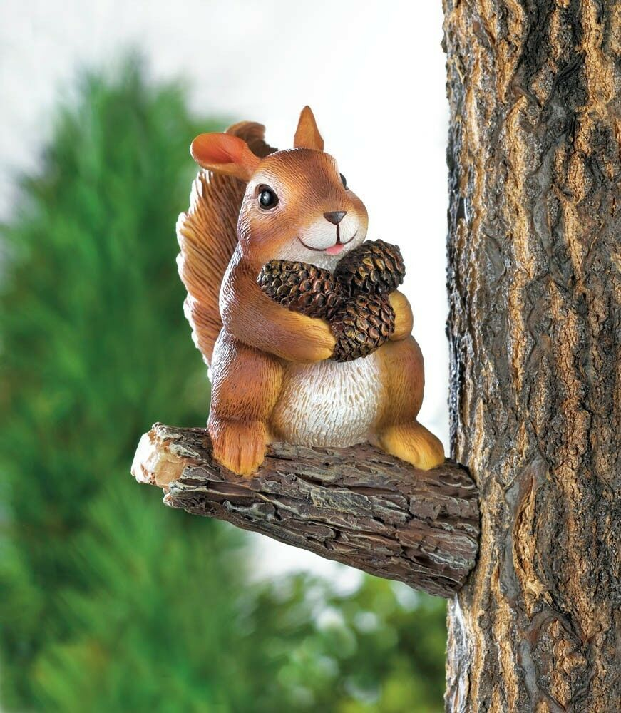 Squirrel wall mount tree fence hanging statue garden decor for Outdoor garden fence decoration