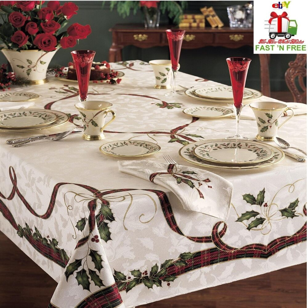 Christmas Tablecloth Rectangle Round Ribbons Printed