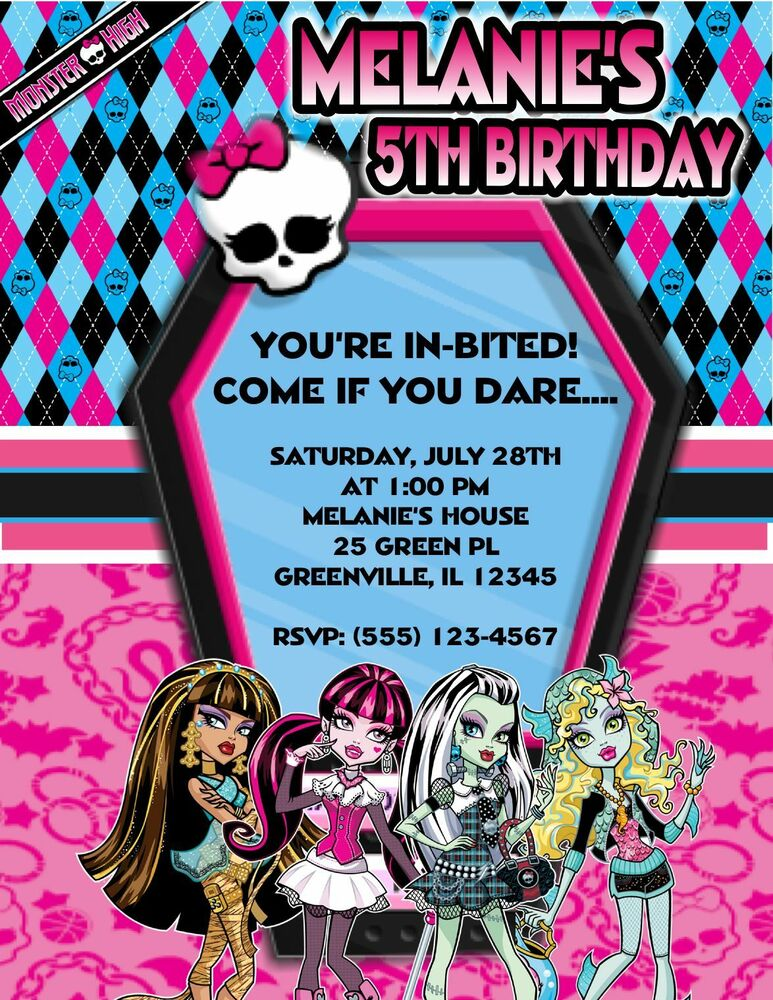10 MONSTER HIGH BIRTHDAY PARTY INVITATIONS OR THANK YOU CARDS W – Monster High Birthday Invitations