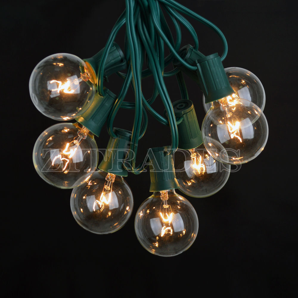Clear Globe String Lights Set Of 25 G40 Bulbs : 25 Foot Outdoor Globe Patio String Lights - Set of 25 G40 Clear Bulbs US Stock eBay