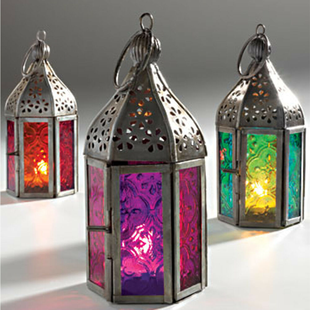 moroccan style mini iron glass lantern tea light holder home garden ebay. Black Bedroom Furniture Sets. Home Design Ideas