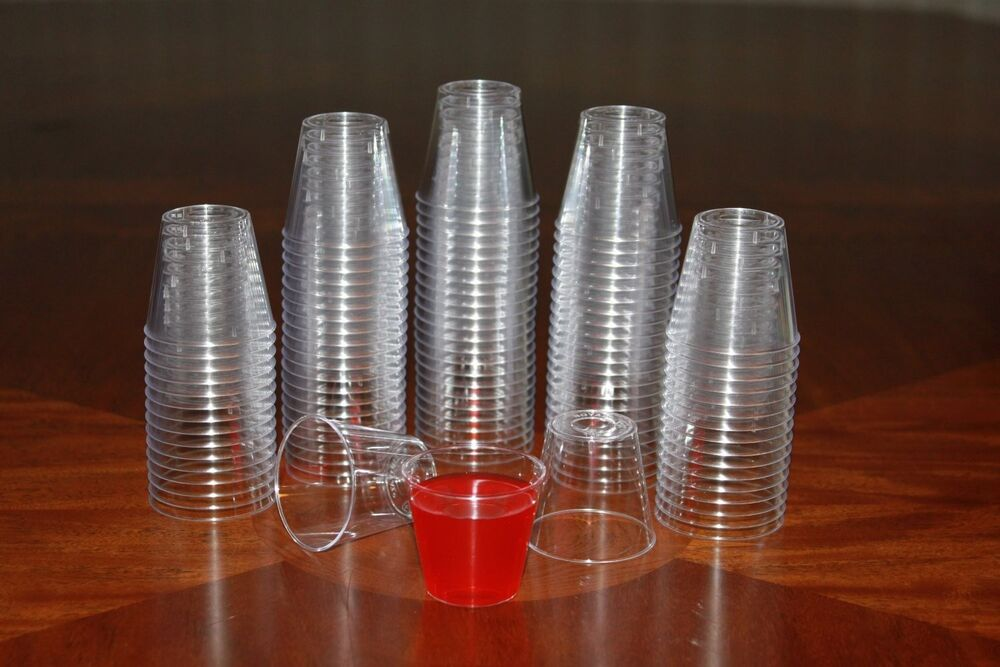 100 Shot Glasses Hard Plastic 1oz Mini Wine Glass Party