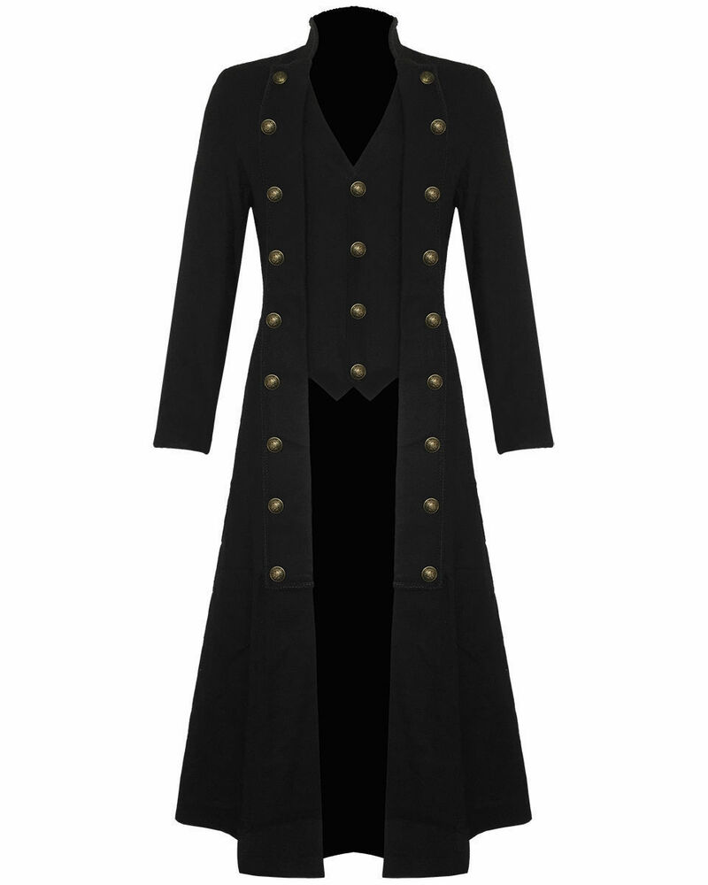 Menu0026#39;s Steampunk Military TRENCH COAT Long Jacket Black Gothic | eBay