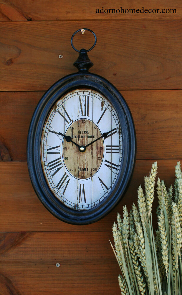 Small Oval Metal Wall Clock Roma Antique Chic French