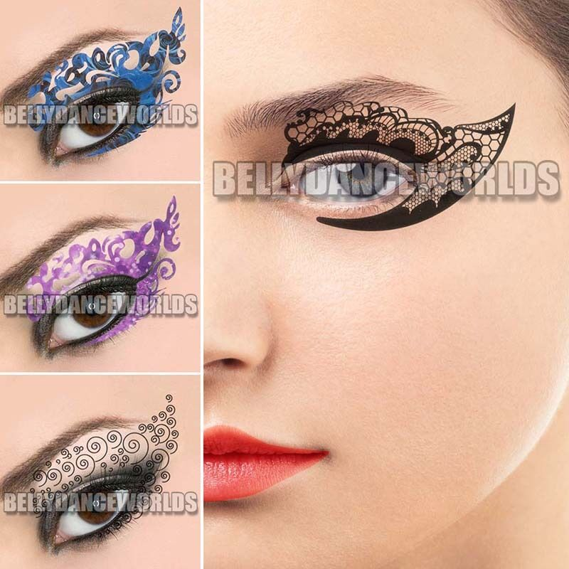 Sexy eye shadow eyeliner eye rock temporary tattoo party for Crystal eye tattoos