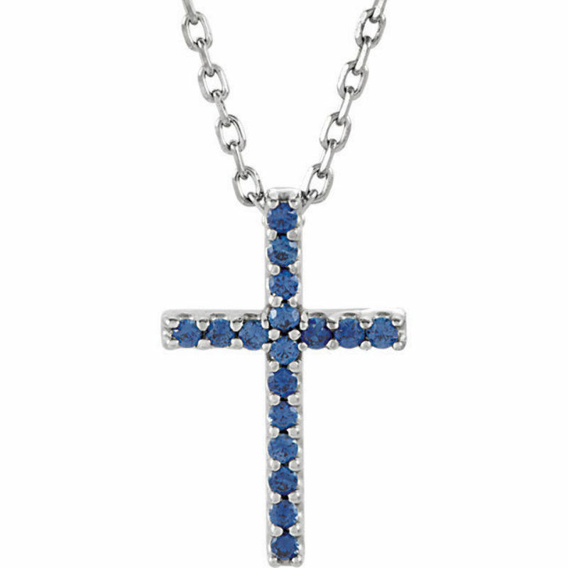 Blue sapphire cross 16 necklace in 14k white gold ebay for Black and blue jewelry cross necklace