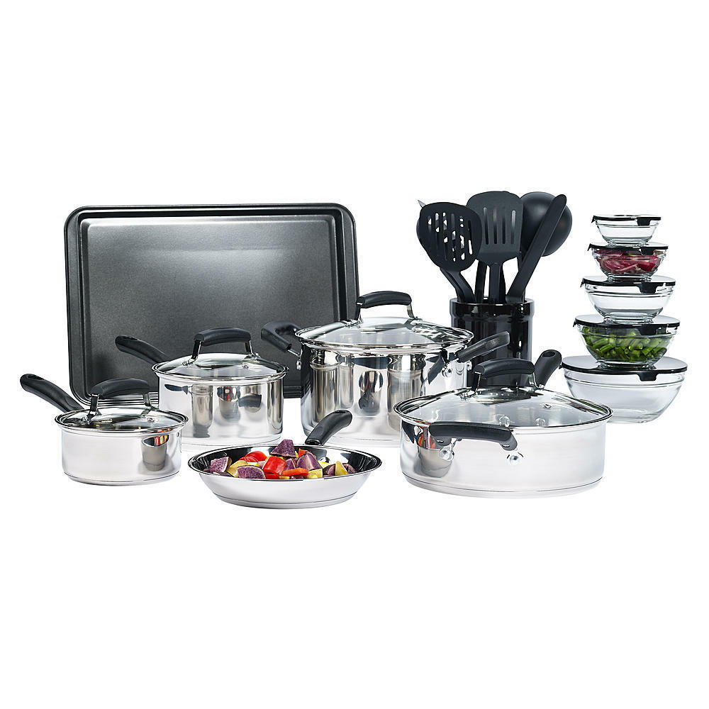 25-Piece Essential Stainless Steel Mega Cookware Set Pots