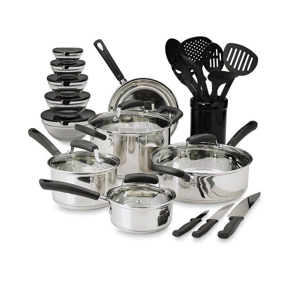 25 piece essential stainless steel mega cookware set pots for Kitchen set from the 90 s
