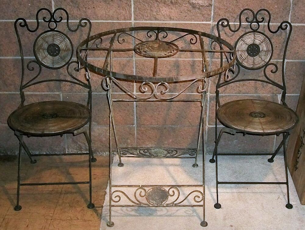 Rare 1930 S Iron Bistro Table Cafe Patio Set Chairs
