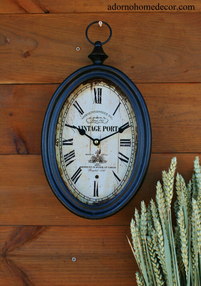Small Oval Metal Wall Clock Vintage Port Antique Chic