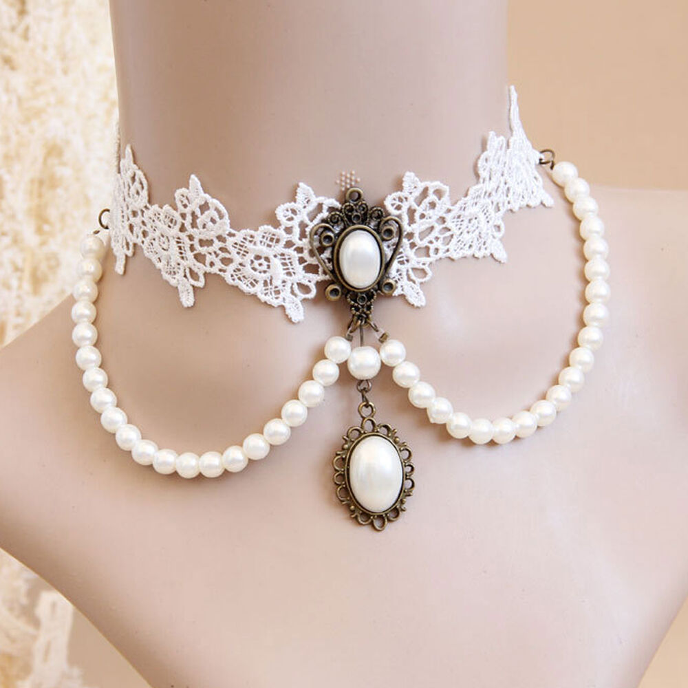 choker white lace pearl necklace collar