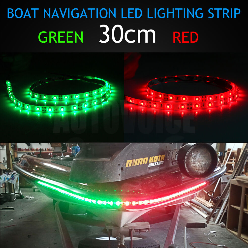 Replace Boat Lights With Led: 30cm Bow LED RED GREEN Waterproof Navigation Light Strips
