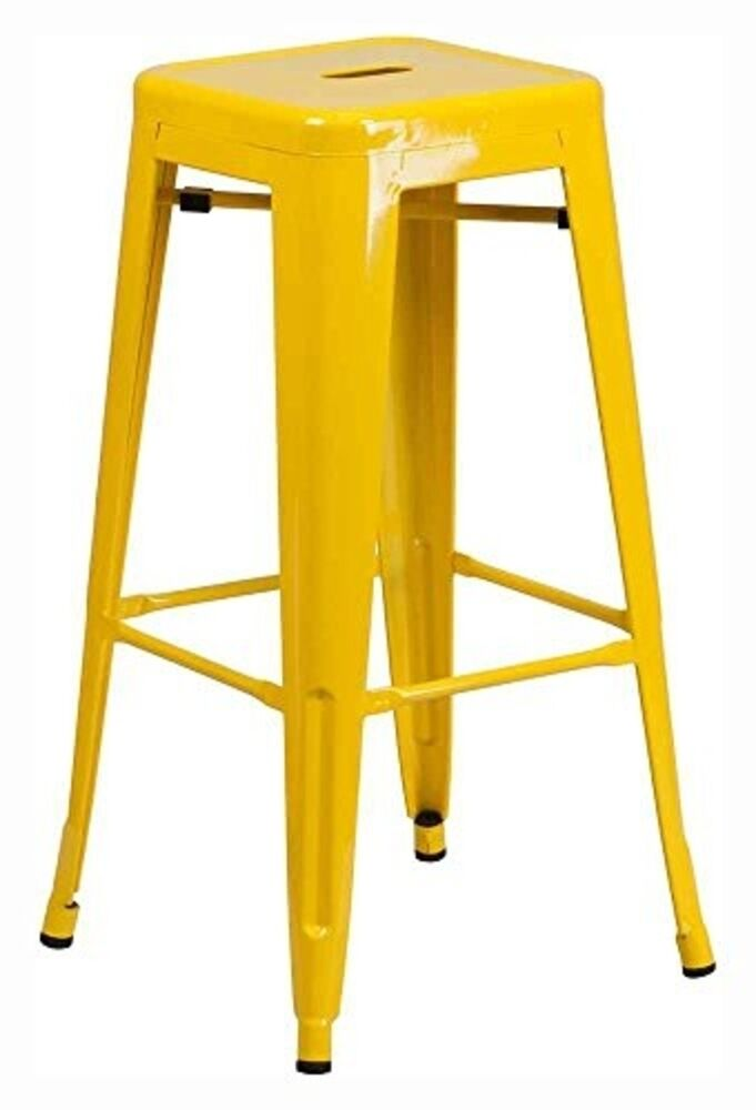 30 Quot High Backless Yellow Metal Indoor Outdoor Barstool W