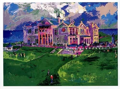leroy neiman hand signed serigraph clubhouse at old st andrews silkscreen golf ebay. Black Bedroom Furniture Sets. Home Design Ideas