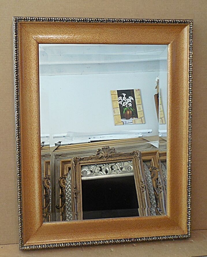 Large solid wood 24x30 rectangle beveled framed wall for Large framed mirrors
