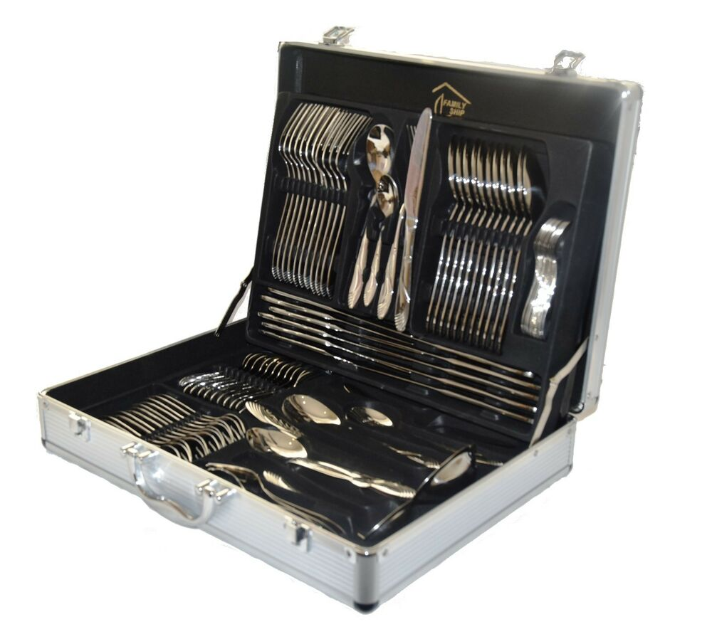 84 PIECE 1810 STAINLESS STEEL SILVER amp GOLD DETAIL