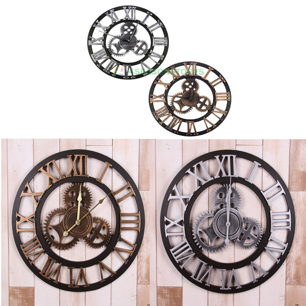 handmade wall clock oversized 40cm retro wooden vintage rustic big gear gift ebay
