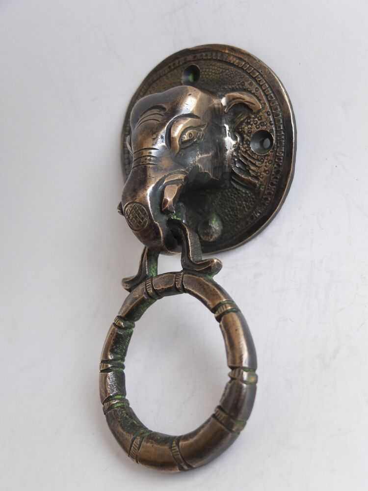 Vintage antique style hand made solid brass elephant handle door knocker ebay - Brass elephant door knocker ...