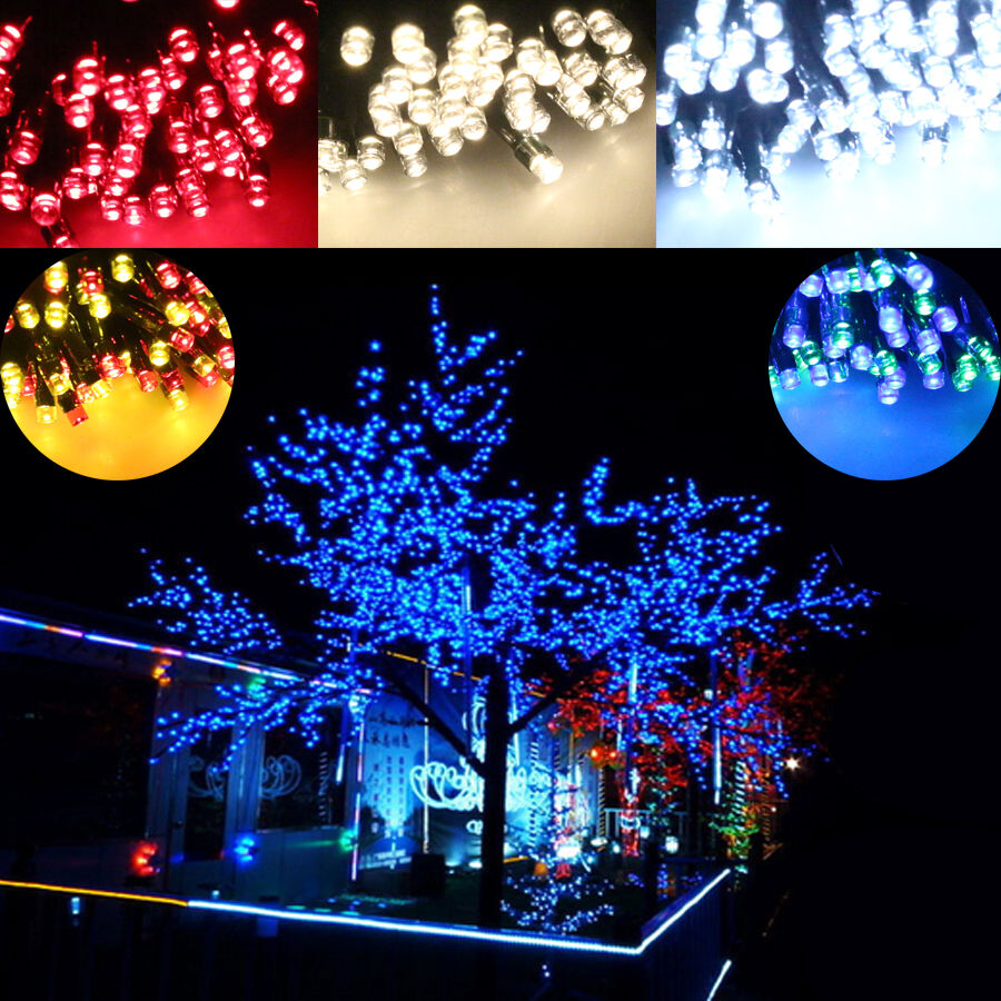 100 200 led solar power string light outdoor garden xmas for Outdoor christmas lights