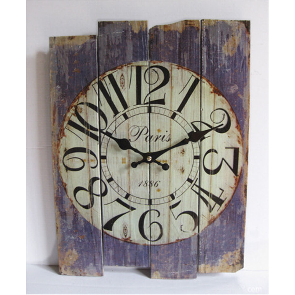 Retro vintage silent no ticking wall clock shabby chic for Antique wall decor