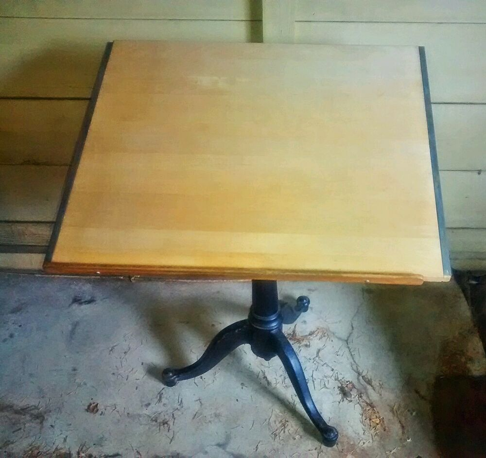 Antique Adjustable Cast Iron Metal And Wood Drafting