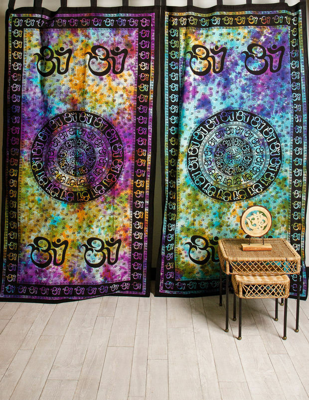 OM Aum Chakra Yoga Indian Tie Dye Hippie Wall Hang Tapestry Door ...