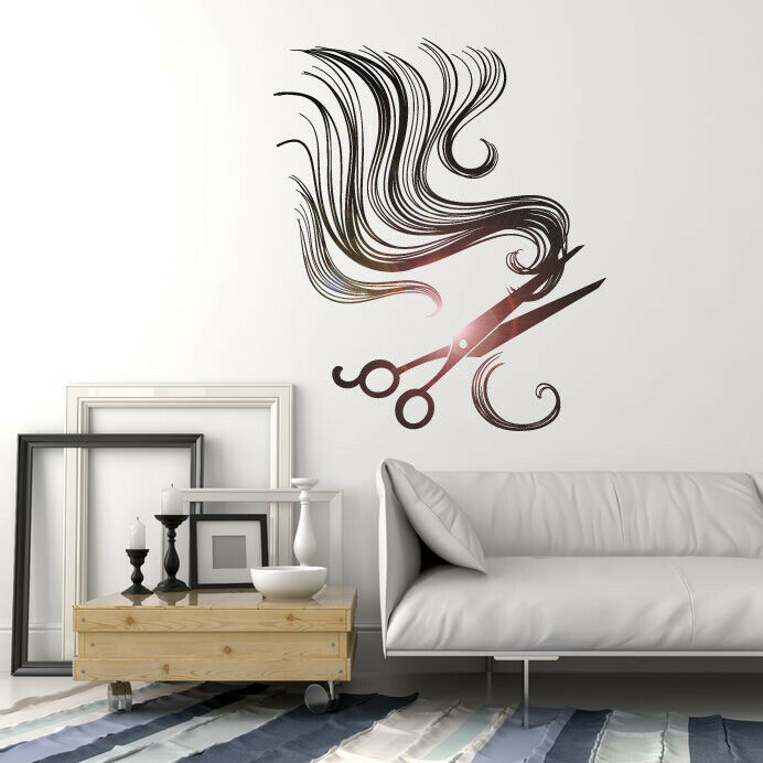 Vinyl wall decal hair scissors barber tools beauty salon for Stickers salon