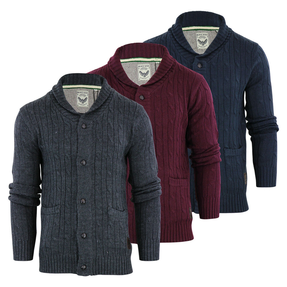 Mens Cardigan Jumper Brave Soul Genghis Cable Knitted ...