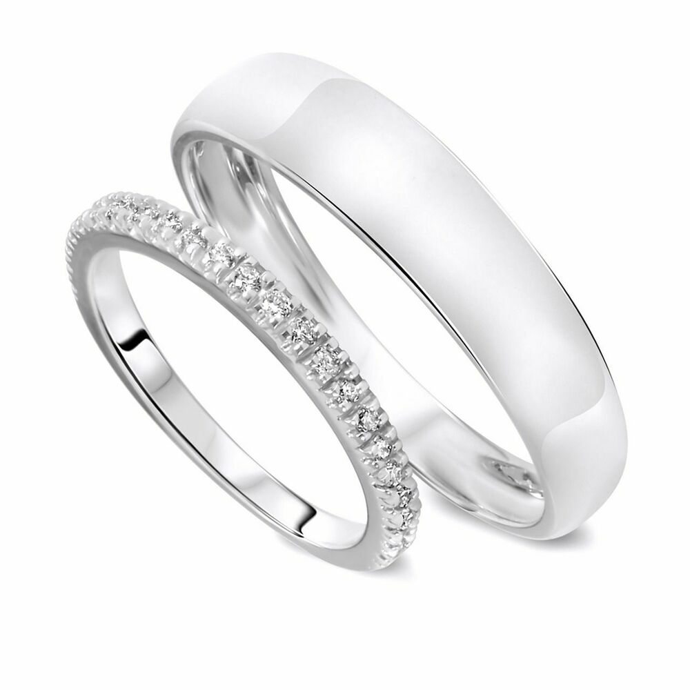 White Gold Bands: 10K White Gold 1/4 Carat Round Cut Diamond His And Hers