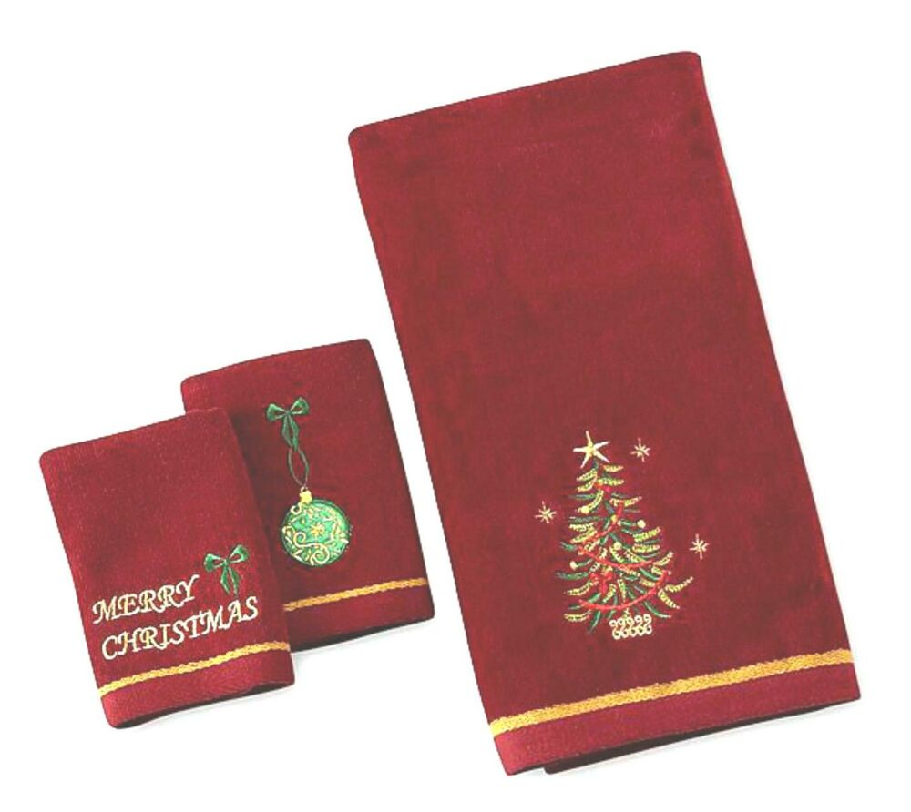 3pc embroidered christmas tree decorative bath set 2 for Decorative bath towels