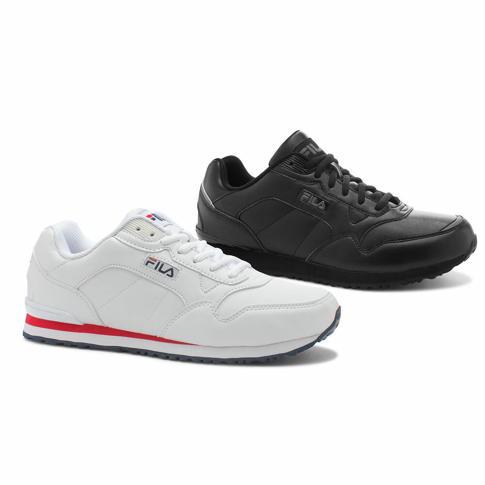 White Leather Running Shoes Mens