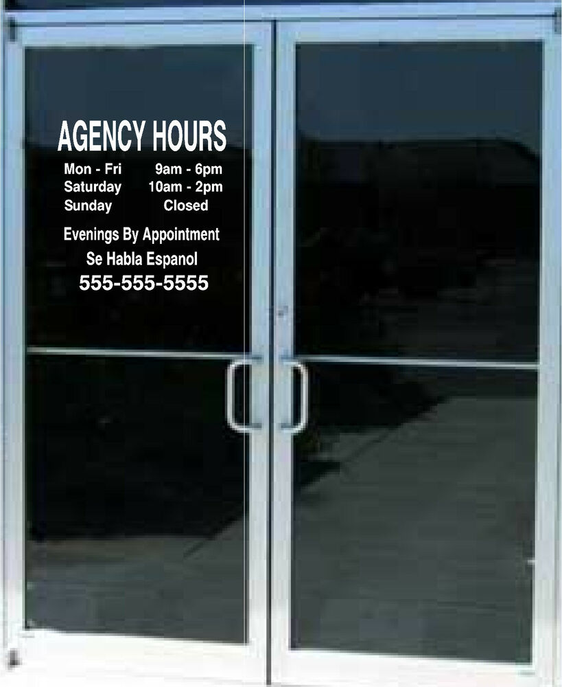 Custom Business Store Hours Sign Vinyl Decal Sticker 15x15