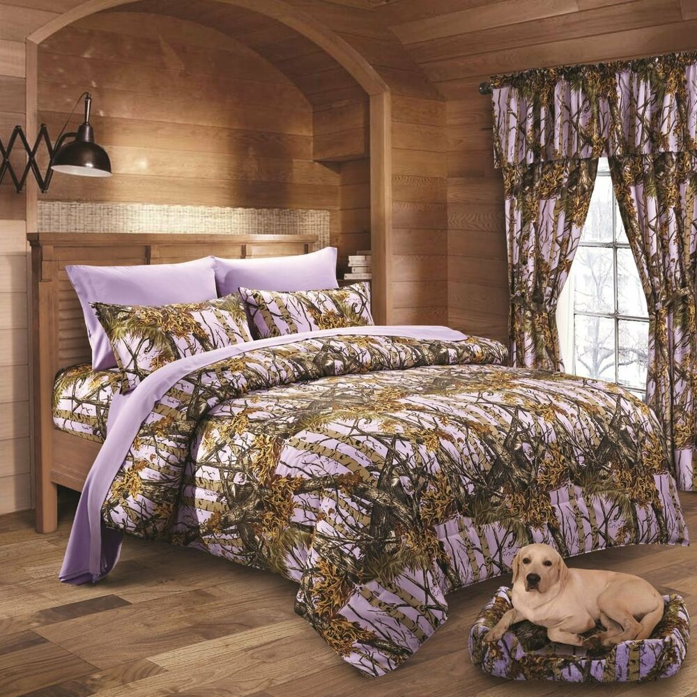 17 Pc Lavender Camo Comforter Sheet And Curtain Set Queen