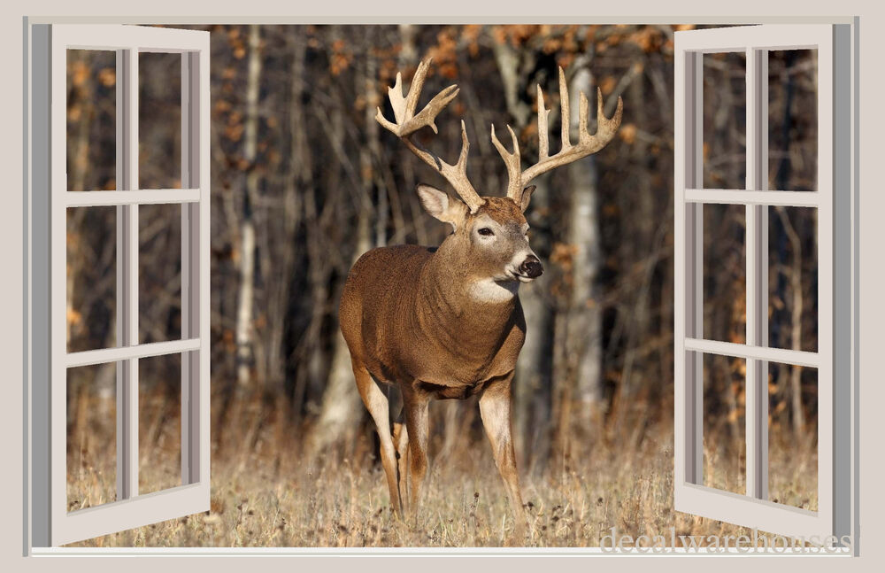 Deer forest window view repositionable color wall for Deer landscape wall mural