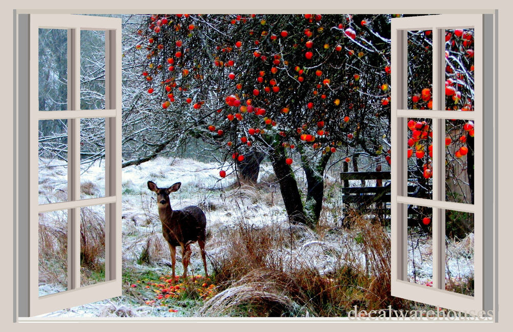 Deer snow christmas window view repositionable color for Christmas window mural