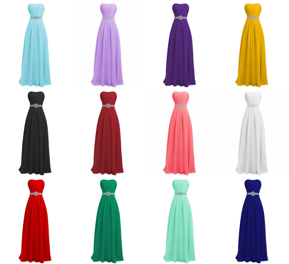 Long Multi Color Chiffon Bridesmaid Dress Ball Gown