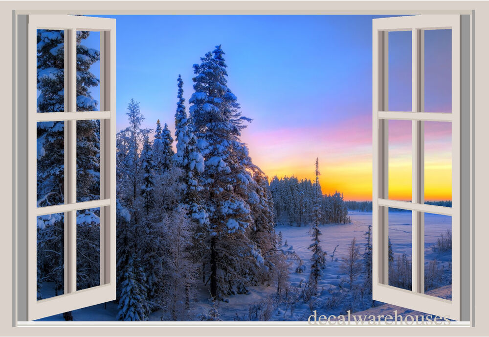 Trees Mountains Snow Window View Repositionable Color Wall Sticker Wall Mural Ebay