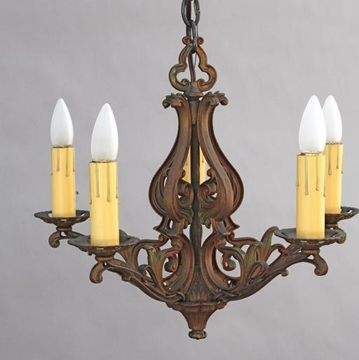 1920s spanish revival chandelier antique mediterranean for Mediterranean lighting fixtures